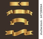 gold ribbon banner vector with... | Shutterstock .eps vector #647280064