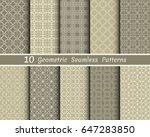 set of 10 seamless geometric... | Shutterstock .eps vector #647283850
