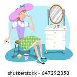 young girl playing grown up... | Shutterstock .eps vector #647292358