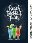 beach cocktail party lettering. ... | Shutterstock .eps vector #647293924