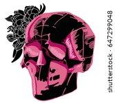 pink black skull with flower....   Shutterstock .eps vector #647299048