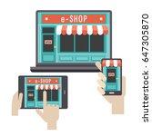 e commerce online shop web site ... | Shutterstock .eps vector #647305870
