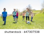boys and girls running towards... | Shutterstock . vector #647307538
