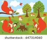 vector set of cute cartoon... | Shutterstock .eps vector #647314060