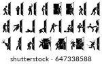 man and door pictogram.... | Shutterstock . vector #647338588