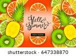 hello summer. tasty season.... | Shutterstock .eps vector #647338870