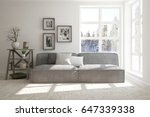 white room with sofa and winter ... | Shutterstock . vector #647339338