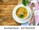 fresh salmon fish soup with... | Shutterstock . vector #647342320