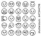 emoticon icons set. set of 25... | Shutterstock .eps vector #647344798