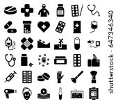 Treatment Icons Set. Set Of 36...