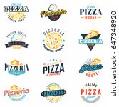 pizza badges set. retro... | Shutterstock .eps vector #647348920