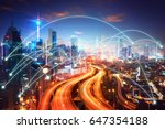 network connection concept with ... | Shutterstock . vector #647354188