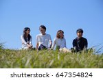japanese young   group outdoor... | Shutterstock . vector #647354824