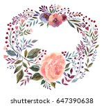 watercolor floral wreath with... | Shutterstock . vector #647390638