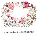 watercolor floral wreath with... | Shutterstock . vector #647390683