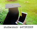 girl graduated wearing  black... | Shutterstock . vector #647392009