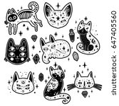 fashion set with cats  stars...   Shutterstock .eps vector #647405560