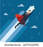 a businessman with red cape to... | Shutterstock .eps vector #647410393