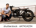 rider guy with beard and... | Shutterstock . vector #647414254