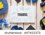 overhead view of traveler's... | Shutterstock . vector #647421373