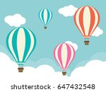 four hot air balloons with... | Shutterstock .eps vector #647432548
