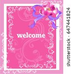 bright floral   pink greeting... | Shutterstock .eps vector #647441824