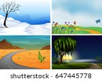 four nature scenes day and... | Shutterstock .eps vector #647445778