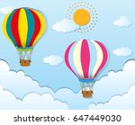 two balloons flying in blue sky ... | Shutterstock .eps vector #647449030