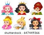 different characters of queens... | Shutterstock .eps vector #647449366