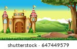 castle towers in the field... | Shutterstock .eps vector #647449579