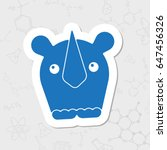 Vector Flat Sticker Rhinoceros...
