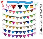 party flag set vector   Shutterstock .eps vector #647464264