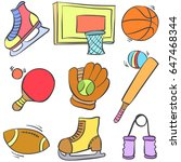 sport equipment cartoon style... | Shutterstock .eps vector #647468344