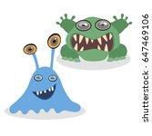happy cartoon monster. vector... | Shutterstock .eps vector #647469106