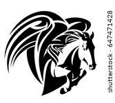 winged horse design   pegasus... | Shutterstock . vector #647471428