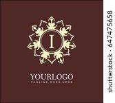 i letter floral logo. brand... | Shutterstock .eps vector #647475658