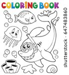coloring book with shark... | Shutterstock .eps vector #647483860
