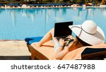 working on travel  girl in a... | Shutterstock . vector #647487988