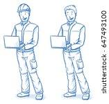 happy modern male technician ... | Shutterstock .eps vector #647493100