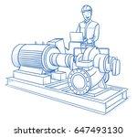 happy modern male technician ... | Shutterstock .eps vector #647493130