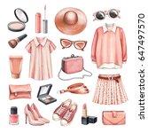 watercolor fashion illustrations | Shutterstock . vector #647497570