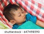 baby bassinet make by red white ... | Shutterstock . vector #647498590