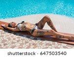 sexy tattooed woman portrait in ... | Shutterstock . vector #647503540