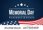 memorial day   remember and... | Shutterstock .eps vector #647505409