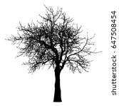 Silhouette Of Tree  Bush With...