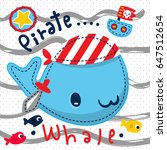 cartoon cute whale in pirate... | Shutterstock .eps vector #647512654