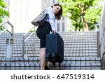 young woman going up the stairs ... | Shutterstock . vector #647519314