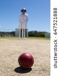 cricket ball on pitch with...   Shutterstock . vector #647521888