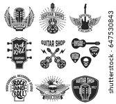 set of guitar store emblems.... | Shutterstock .eps vector #647530843