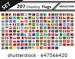 set 207 country flags reflection | Shutterstock .eps vector #647566420